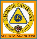 logo protezione civile sardegna con scritta allerta arancione